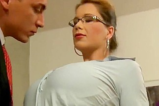 Office intern w big naturals gangbang