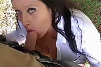 Your Busty Smoking Lady - Outdoor Blowjob Handjob with Leather Gloves - Cum on my Tits