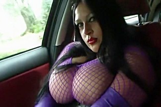 Purple Fishnet - Driving Topless in the Car - Blowjob Handjob with Leather Gloves - Cum in my Mouth