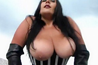 Leather Bra Corset Slut - Outdoor Blowjob Handjob with Long Leather Gloves - Cum on my Tits