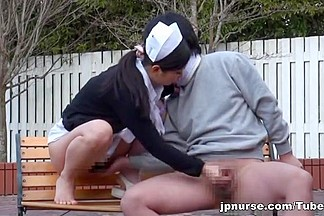 This wild Japanese nurse enjoys outdoor sex