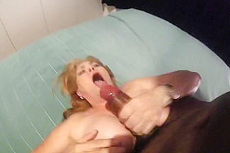 Busty latin milf blowjob finishes with swallow