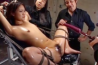 Sexy Chinese slut oiled, tied and stimulated to squirt