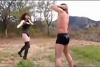 Hot dominatrix and her slave in wicked outdoor action